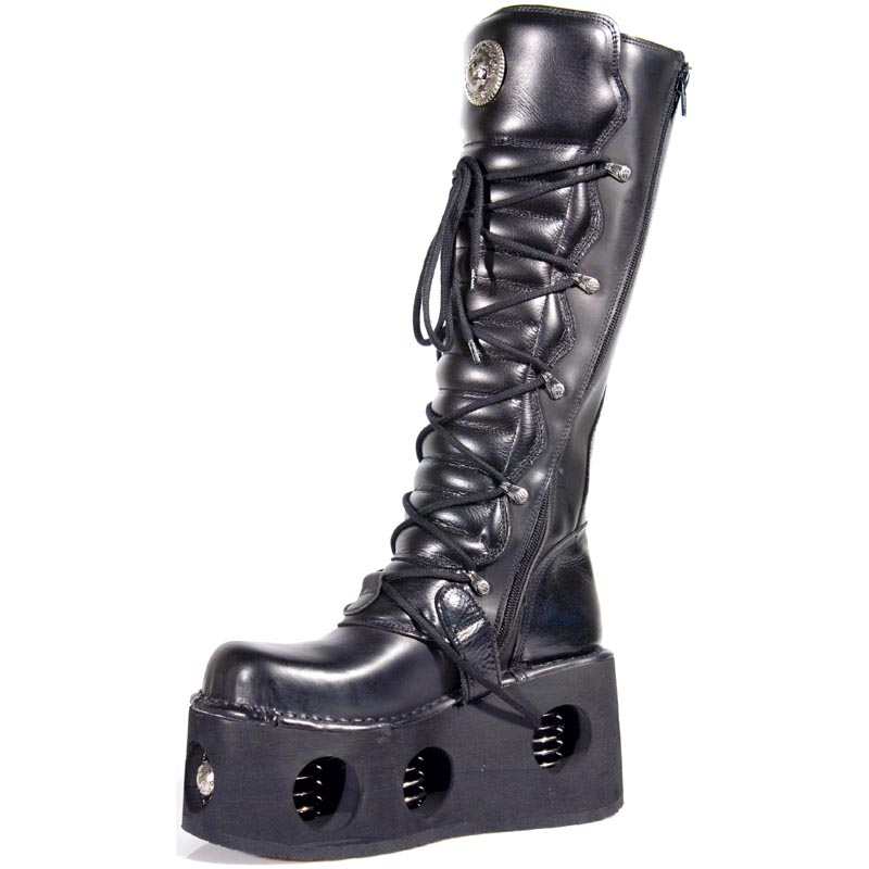 Goth Leather Boots W Springs In The Sole
