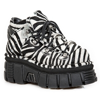 Black & White Zebra Hair Leather Ankle Boots