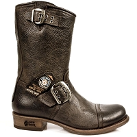 Brown Buffalo Hide Leather Biker Boots *May take up to 45 - 50 Days to Receive*