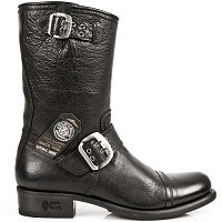 Black Buffalo Hide Leather Biker Boots *May take up to 45 - 50 Days to Receive*