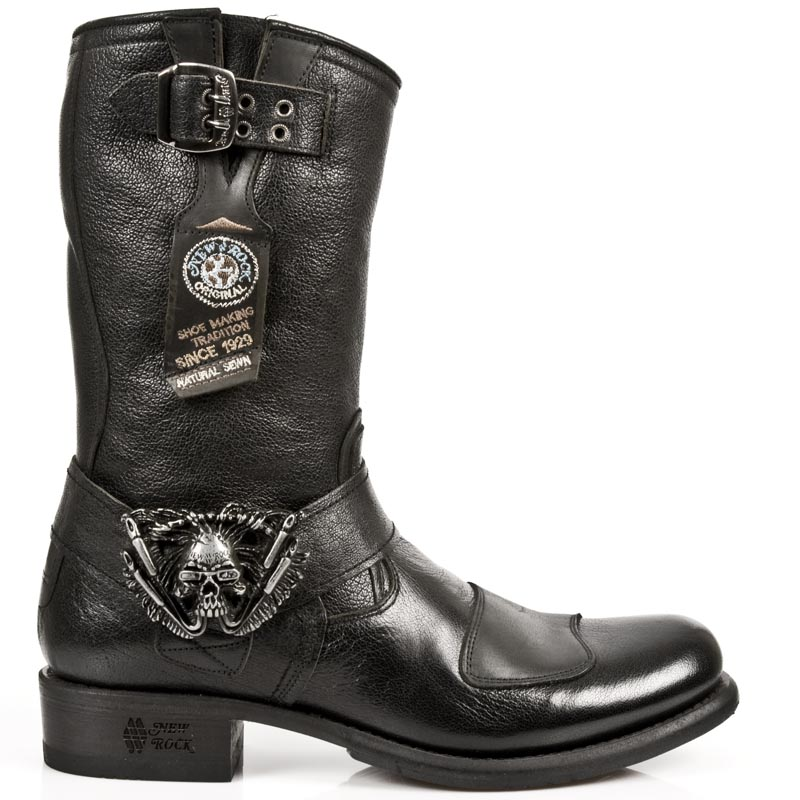 954f88dd50 Black Buffalo Hide Leather Biker Boots w Skull