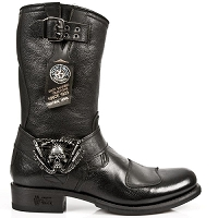 Black Buffalo Hide Leather Biker Boots w Skull