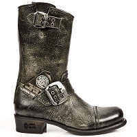Stone Clay Buffalo Hide Leather Biker Boots *May take up to 45 - 50 Days to Receive*