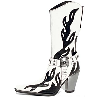 White Leather Ladies Western Boots w Black Flames *May take up to 35 - 45 Days to Receive*