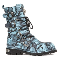 Teal Camouflage Leather Boots