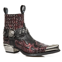 Red Paisley Patterned Leather Studded Westerns