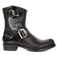 Black 2 Tone Leather Biker Boots