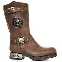 Brown Leather Motorcycle Boots w Iron Cross  Mens Size 9 ONLY
