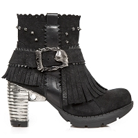 Black Suede Vintage Ankle Boots w Fringe US Ladies 6 ONLY