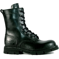 Black Leather Combat Boots, up to Mens 15