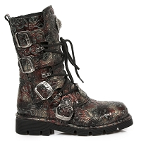 Dark Brown Leather Floral Boots by New Rock - Unisex