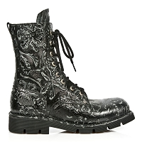 Black Leather w Vintage Floral Pattern New Rock Boots