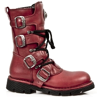Red Leather Combat Boots, up to Mens 15