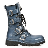 Azure Leather Combat Boots by New Rock - Unisex *May take up to 35 - 45 Days to Receive*