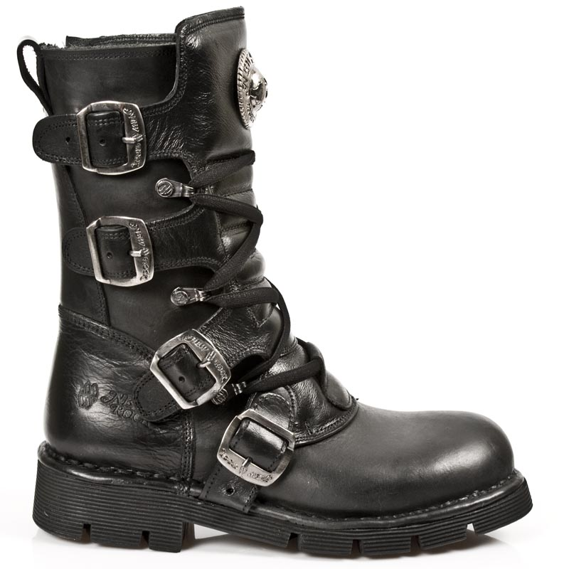 Black Leather New Rock Punk Boots