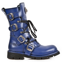 Royal Blue Leather Combat Boots by New Rock - Unisex
