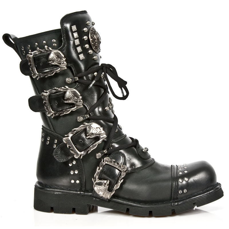 Black Leather Studded New Rock Combat Boots