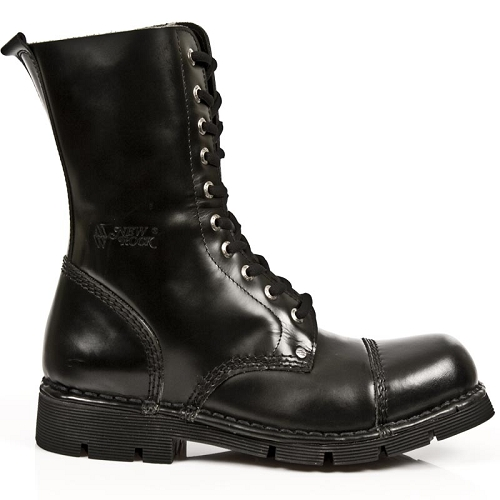 Black Leather Military Boots w Laces