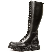 Tall Black Leather Military Boots