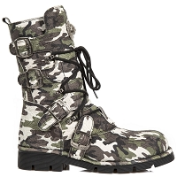 Green Camouflage Leather Boots *Sizes Mens 13, 14, 15 and 16 are Custom made and may take up to 45 - 50 Days to Receive*