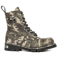 Green Camouflage Leather Boots