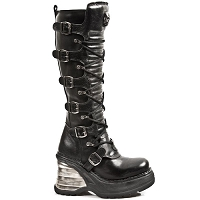 Black Leather Knee High Goth Boots