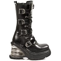 Ladies Black Leather Goth Boots w Flaming Skull Buckles