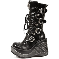 Black Leather Goth Boots w 4