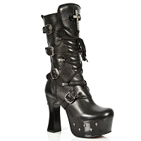 Gothic Cross Dark Metal Leather Boots w 4