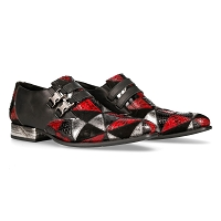 Classy Black, Red & Silver Patchwork VIP Leather Shoes