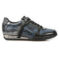 Greystone Silver, Black & Night Sky Blue Leather Hybrid Shoes *May take up to 45 - 50 Days to Receive*
