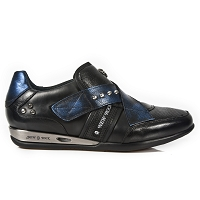 Black & Metallic Blue Leather Hybrid Shoes *May take up to 45 - 50 Days to Receive*