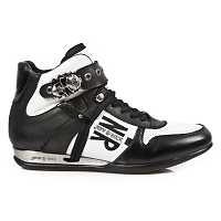 Black & White Leather Hybrid Hi-top Shoes w Skull Buckle *May take up to 45 - 50 Days to Receive*