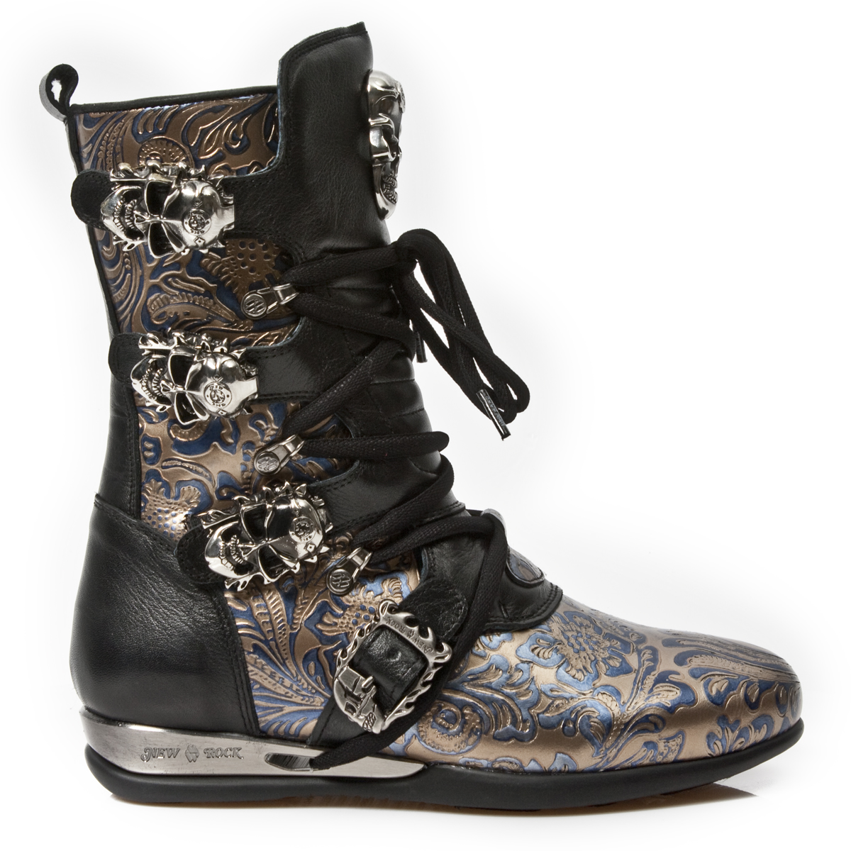 black blue gold leather hybrid boots w skull buckles may