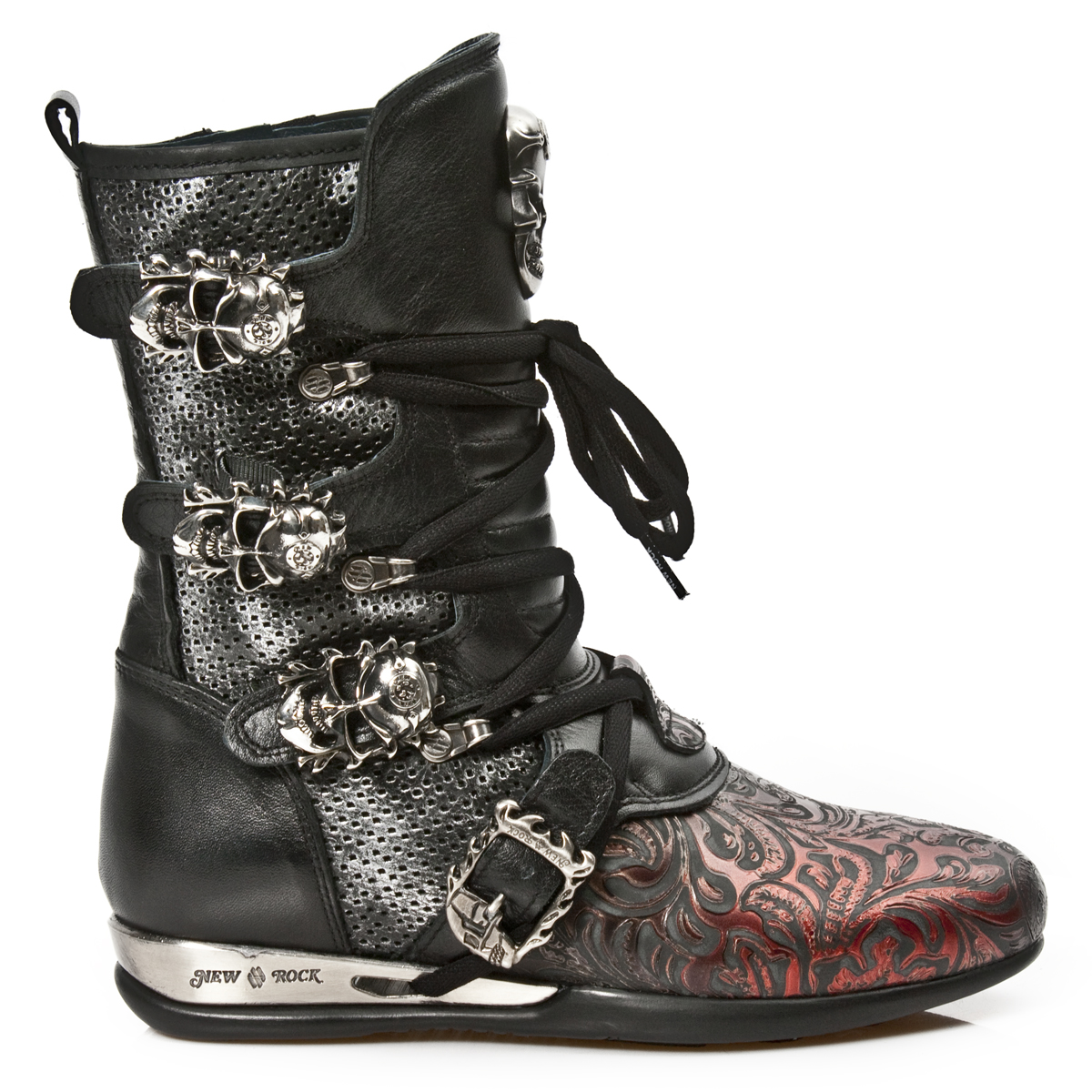 black red leather hybrid boots w skull buckles may take up to 45 50 days to receive. Black Bedroom Furniture Sets. Home Design Ideas