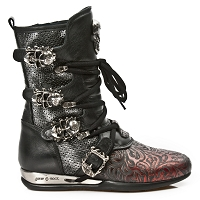 Black & Red Leather Hybrid Boots w Skull Buckles *May take up to 45 - 50 Days to Receive*