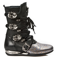 Black Leather, Blue & Gold Leather Hybrid Boots w Skull Buckles  *May take up to 45 - 50 Days to Receive*