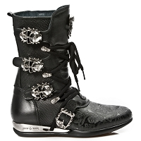 Black Leather Hybrid Boots w Black Paisley pattern *May take up to 45 - 50 Days to Receive*