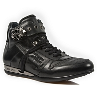 Black Leather Hi-Top Shoes w Skull Buckle