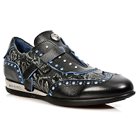 Black w Paisley Pattern Leather w Blue Trim