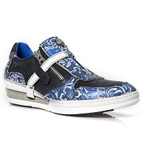 Blue & White Paisley Pattern Leather