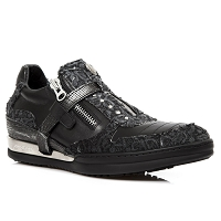 Black Leather w Paisley Pattern *Mens Size 14 is Custom and May take up to 45 - 50 days to Receive*