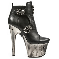 Black Leather Devil High Heel Ankle Booties *May take up to 35 - 45 Days to Receive*