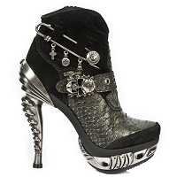 Silver Alligator Pattern Leather High Heel Ankle Booties  *May take up to 35 - 45 Days to Receive*
