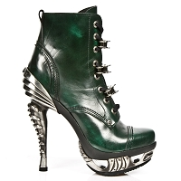 Green Leather High Heel Goth Boots