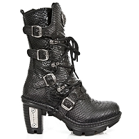 Black Snake Pattern Leather Boots