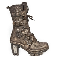 Dark Gold Leather Snake Pattern Boots