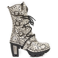 White Leather Floral Pattern Boots