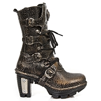 Black Leather Boots w Golden Brown Crackle