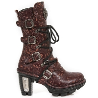 Deep Red Leather Floral Pattern Boots